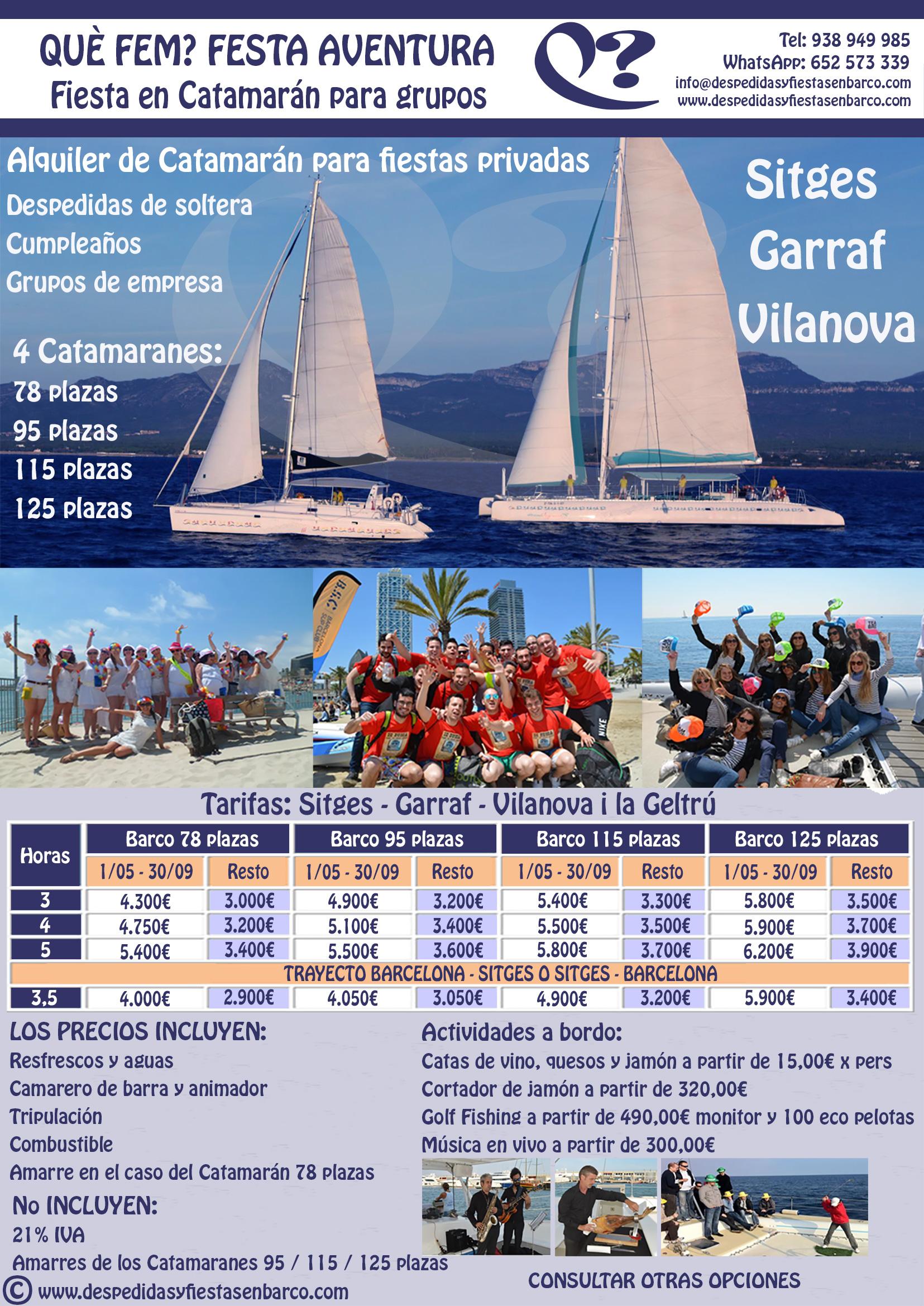 Alquiler de Barcos tipo Catamarán para fiestas privadas en Sitges, Garraf y Vilanova i la Geltrú