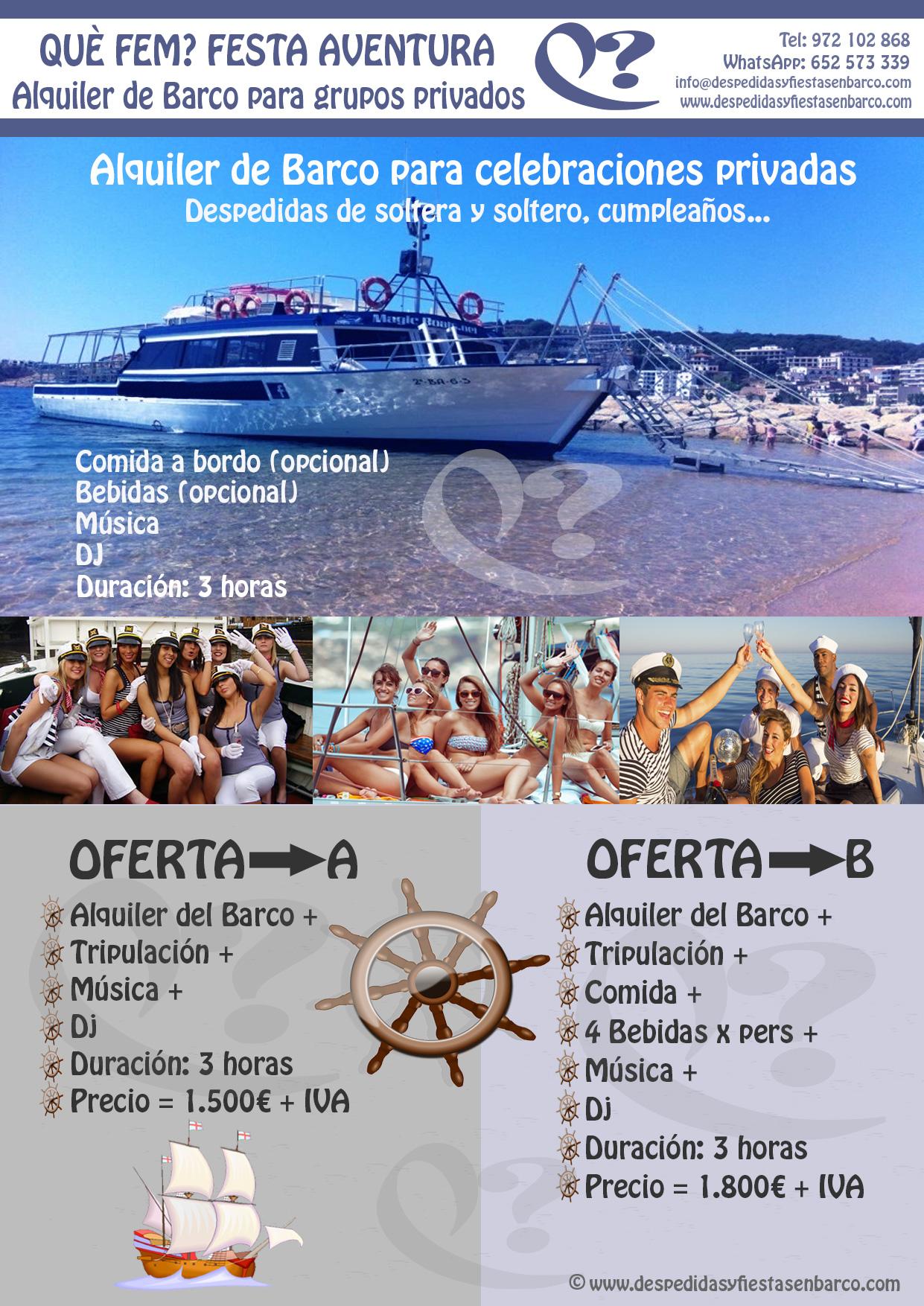 Alquiler de barco para despedidas y fiestas privadas en Platja d'Aro