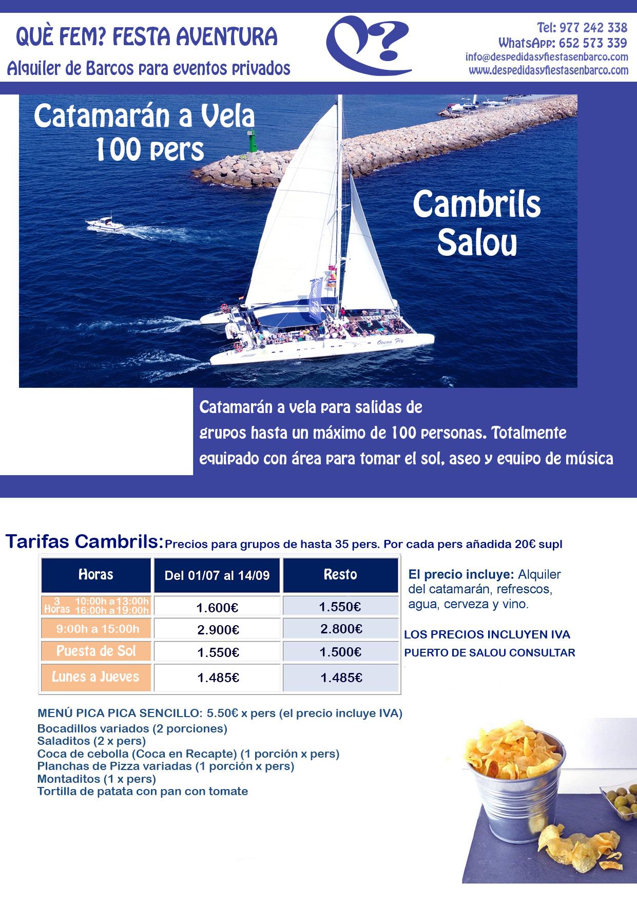 Alquiler de Barcos para fiestas privadas en Tarragona, Salou y Cambrils
